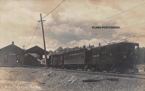 KEESEVILLE, NEW YORK, DEPOT WITH INTERURBAN TRAIN-EARLY 19OO'S  RPPC REAL P.C.