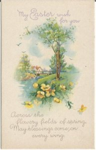 Wishes Beautiful Spring Country Cottage Scene 1920 Stecher Publishing Easter Gre
