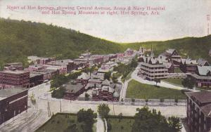 Heart of Hot Springs, showing Central Avenue, Army & Navy Hospital & Hot Spri...