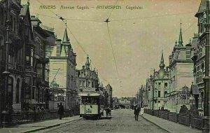 Belgium Anvers Avenue Cogels Street Tram Postcard