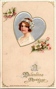 1914 Vintage Valentine Postcard John Winsch Victorian Girl Embossed Silver Heart