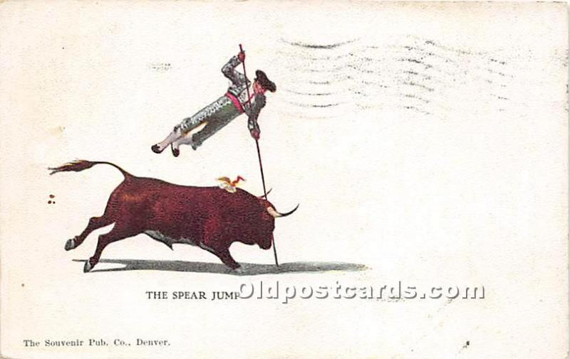 Old Vintage Bull Fighting Postcard Post Card The Spear Jump