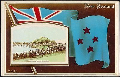 new zealand, CHRISTCHURCH, Cave Rock, Flag (1920s) RPPC