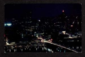 PA Night View PITTSBURGH PENNSYLVANIA PENN Postcard PC