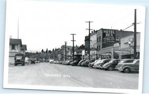 Truckee California CA Hotel Rex Street Town View RPPC Vintage Photo Postcard C40