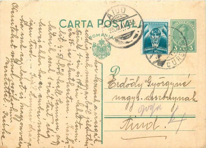 Romania royalty uprated postal stationery postcard Carol II