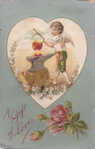 VALENTINE´S DAY: A GIft of Love, Cupid warming up red hearts over flames on ...
