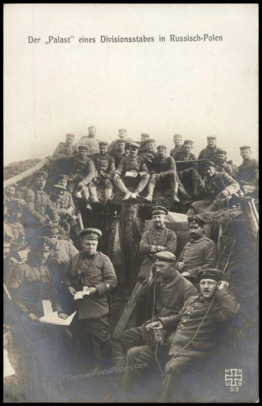 Germany WWI Division HQ Russian Poland Trenches  RPPC 81161