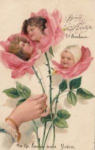 NEW YEAR; Bonne Annee, 1905; Three roses with children's heads