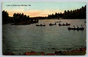 Eldorado Springs Missouri~Lake 5 Rowboats Cluster Around Island~Cabins~c1910 PC