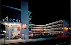 Atlantic City NJ~The Ascot Luxury Motel~Night Lights~Telephone Booth~1950s Cars