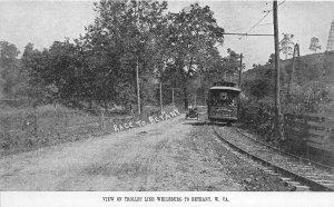 F42/ Wellsburg West Virginia Postcard c1910 Bethany Trolley Line Race