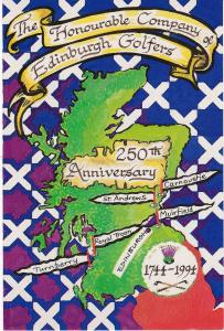 Post Card Scotland The Honourable Company of Edinburgh Golfers 250th Anniversary