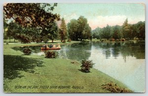 Toledo Ohio~State Hospital~Asylum for the Insane~Lagoon Rowboat~1908 Rotograph