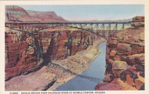 Fred Harvey H-3960: Navajo Bridge over Colorado River at Marble Canyon , Ariz...