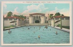 Tampa Florida~Temple Terraces Casino~Bathers in Swimming Pool~1920s Postcard