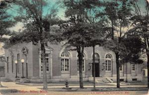 Niles Michigan Post Office Street View Antique Postcard K49806
