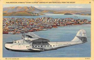 Pan Am Airlines China Clipper Flying Boat Plane San Francisco CA 1945 postcard