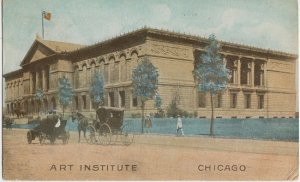 CHICAGO IL - ART INSTITUTE view / 1910s era + horse & carriage & OLD CAR