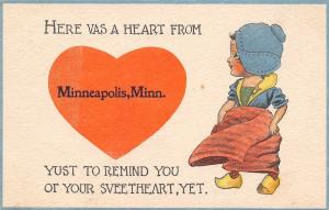 Here's a Heart From Minneapolis MN~Reminding You of Your Sweetheart~1913 PC