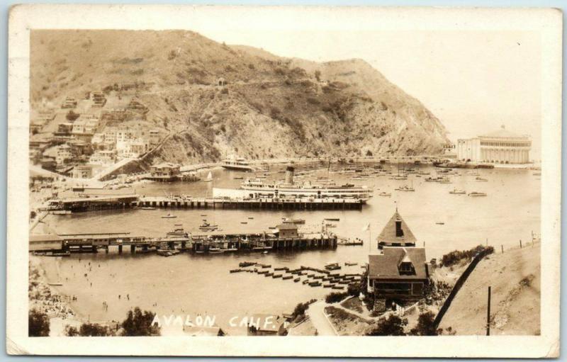 1929 Catalina Island CA RPPC Real Photo Postcard AVALON HARBOR Bird's-Eye View