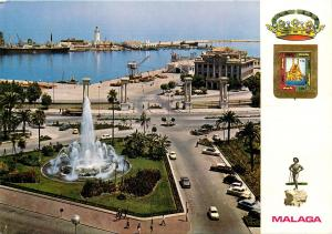 Malaga Plaza de la Marina y Puerto Spain old cars lighthouse fountain Postcard