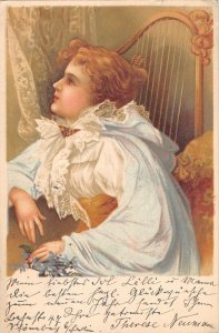 US2916 Woman in Dress, Harp Musical Instrument artist signed