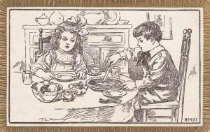 Artist NOSWORTHY : Children share a pie , PU-1911