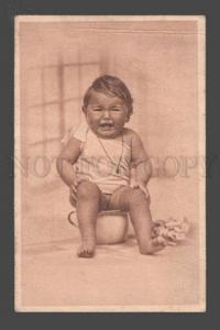 097331 Girl in Nighty on POT vintage PHOTO PC