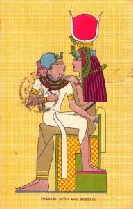 Postcard Art Drawing EGYPT 1960 Pharaoh Seti I and Goddess