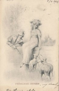 M.M. VIENNE , 1901; Frohliche Ostern, Man, Woman and sheep