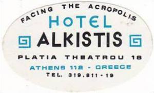 GREECE ATHENS HOTEL ALKISTIS VINTAGE LUGGAGE LABEL
