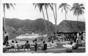 Pago Pago Samoa Steamer in Harbor Real Photo Vintage Postcard JH230388