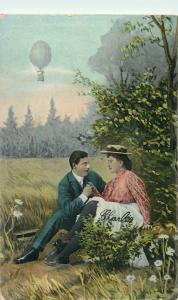 Romantic Lovers Couple Balloon Aerostat Amour Love Amoureaux Vintage Postcard