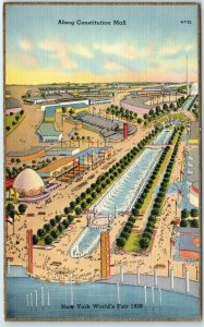 1939 New York World's Fair Expo Postcard Along Constitution Mall Linen Unused