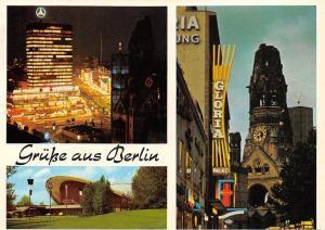 Gruesse aus Berlin, Europa Center bei Nacht Kongresshalle Gedaechtniskirche