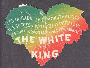WHITE SEWING MACHINE - TRADE CARD / novelty leaf shaped 1910s / CLEVELAND OHIO
