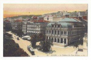 Africa Algeria Alger Le Theatre et la Place Bresson Vtg LL Lucien Levy Postcard
