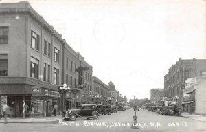 LPS65 Devils Lake North Dakota Fourth Avenue Town View Postcard RPPC