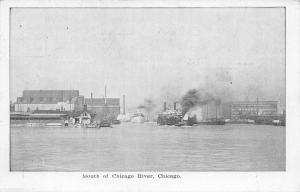 Chicago Illinois~Mouth of River~Gunther's Candies Billboard~Steamers~B&W 1911