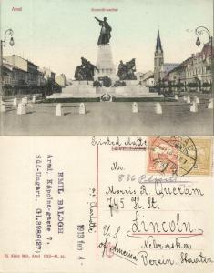 romania, ARAD, Kossuth-szobor, Kossuth Statue (1913) Postcard