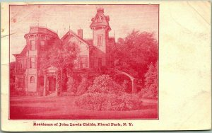 1900s FLORAL PARK, Long Island New York Postcard Residence of John Lewis Childs