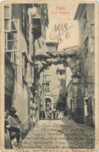 Croatia Rijeka Fiume Arco Romano animated street 1910s postcard