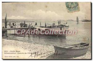 Old Postcard Golfe Juan Debarcadere Canoes From I'Escadre