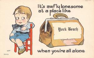 Awfully Lonesome at York Beach Maine~Boy All Alone~Satchel~1915 Pennant PC