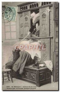 Old Postcard In Brittany Around the enclosed bed Voisine little Dresser Panic...