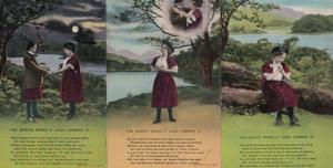 The Bonnie Banks Of Loch Lomond 3x Poetry Songcard Old Scottish Postcard s