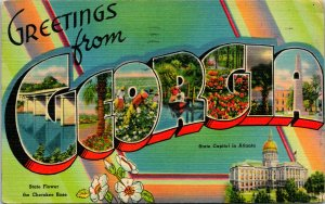 Greetings from Georgia Large Letters Postcard used 1948