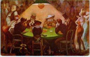 LAS VEGAS, NV Nevada   CLUB BINGO CASINO Poker Game Painting   c1950s  Postcard