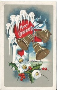 Vintage Embossed Postcard, A Frosty Greeting with Gold Christmas Bells Ice Cycle